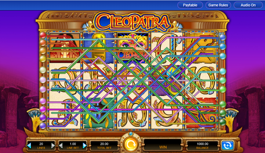 This is an image of cleopatra slot machine maximum paylines