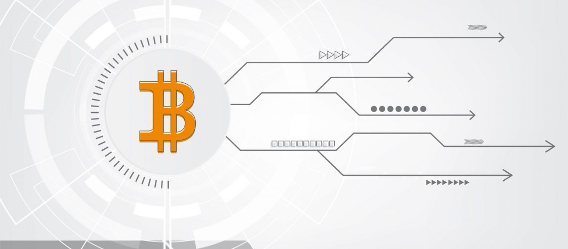 Abstract bitcoin crypto currency blockchain technology Background Illustration